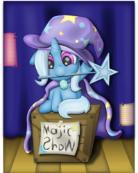 Size: 5132x6459 | Tagged: safe, artist:thebubbleqat, trixie, pony, unicorn, absurd resolution, blushing, cape, clothes, cute, diatrixes, female, filly, filly trixie, hat, mare, mouth hold, oversized clothes, smiling, solo, stage, trixie's cape, trixie's hat, wand, weapons-grade cute, younger