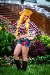 Size: 1333x2000 | Tagged: artist needed, safe, applejack, human, 2012, anime weekend atlanta, clothes, convention, cosplay, front knot midriff, irl, irl human, midriff, photo, shorts, solo
