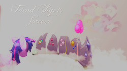 Size: 1280x720 | Tagged: safe, artist:candi13, artist:oddwarg, applejack, fluttershy, pinkie pie, rainbow dash, rarity, tank, twilight sparkle, alicorn, pony, balloon, feels, female, gravestone, group hug, immortality blues, implied death, mane six, mare, misspelling, sad, solo, twilight sparkle (alicorn), twilight will outlive her friends, vector