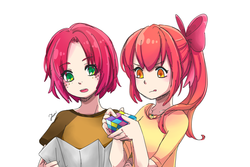 Size: 1500x1000   Tagged: safe, artist:foxmi, apple bloom, babs seed, human, anime, colored pupils, cousins, duo, eye clipping through hair, female, humanized, map, open mouth, pixiv, rubik's cube