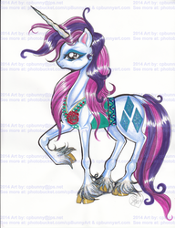 Size: 1527x1987   Tagged: safe, artist:alaer, rarity, classical unicorn, clothes, cloven hooves, leonine tail, solo, traditional art, vest