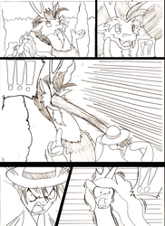 Size: 918x1263   Tagged: safe, artist:droll3, discord, princess celestia, comic, crossover, fanfic art, fight, monkey d luffy, monochrome, one piece, palindrome get, ponified, traditional art