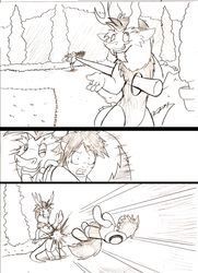 Size: 924x1276   Tagged: safe, artist:droll3, discord, comic, crossover, fanfic art, fight, monkey d luffy, monochrome, one piece, ponified, traditional art