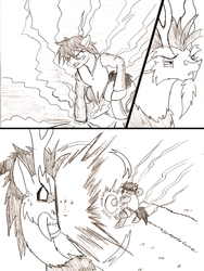 Size: 955x1272   Tagged: safe, artist:droll3, discord, comic, fanfic art, fight, gear second, monkey d luffy, monochrome, one piece, ponified, traditional art
