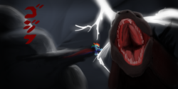 Size: 1366x686 | Tagged: safe, artist:eddreanei, rainbow dash, kaiju, crossover, godzilla, godzilla (series), godzilla 2014, supermare