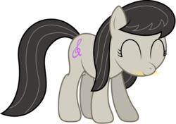 Size: 5694x4000 | Tagged: safe, artist:stillfire, octavia melody, earth pony, pony, absurd resolution, cute, eating, eyes closed, female, grazing, hay, herbivore, hnnng, horses doing horse things, mouth hold, nom, simple background, smiling, solo, tavibetes, transparent background, vector, weapons-grade cute