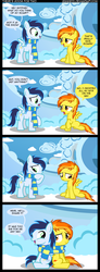 Size: 959x2608 | Tagged: dead source, safe, artist:veggie55, soarin', spitfire, pegasus, pony, clothes, comic, cute, cutefire, daaaaaaaaaaaw, feels, female, heartwarming, hnnng, male, scarf, shared clothing, shared scarf, shipping, soarinbetes, soarinfire, straight, weapons-grade cute, younger