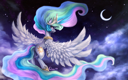 Size: 2200x1382 | Tagged: artist:cizu, cloud, cloudy, crescent moon, crying, detailed, flying, looking up, moon, night, princess celestia, princess twilight sparkle (episode), sad, safe, sky, solo, spread wings, stars