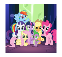 Size: 8645x8000 | Tagged: absurd res, alicorn, applejack, artist:parclytaxel, crystal, door, female, fluttershy, flying, grin, group shot, looking at you, mane seven, mane six, mare, pinkie pie, polaroid, pony, prone, rainbow dash, raised hoof, rarity, safe, smiling, spike, spread wings, .svg available, tree of harmony, twilight's castle, twilight's kingdom, twilight sparkle, twilight sparkle (alicorn), vector, waving