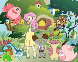 Size: 766x610 | Tagged: alomomola, artist:selenaede, audino, bellossom, bunnelby, chansey, crossover, fluttershy, human, humanized, pokémon, safe, vaporeon