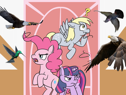 Size: 1123x846 | Tagged: safe, artist:meepymaybelle, derpy hooves, pinkie pie, twilight sparkle, alicorn, bald eagle, bird, eagle, hummingbird, pigeon, pony, birdemic, clothes hanger, crossover, female, mare, question mark, twilight sparkle (alicorn)
