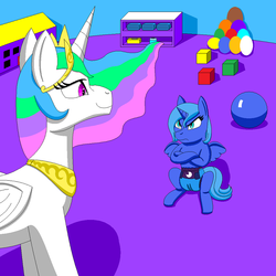 Size: 825x825 | Tagged: artist:neoryan2, ball, blocks, diaper, princess celestia, princess luna, safe, younger