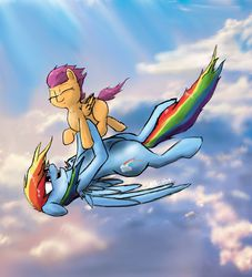 Size: 2000x2200 | Tagged: safe, artist:greyscaleart, rainbow dash, scootaloo, pegasus, pony, belly button, cloud, cloudy, duo, flying, happy, holding a pony, on back, scootalove
