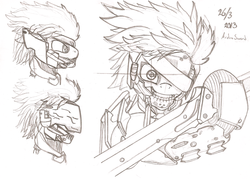 Size: 2201x1580 | Tagged: artist:ardonsword, blade, drawing, grin, hmd, jack the ripper, konami, metal gear, metal gear rising, monochrome, ponified, raiden, rules of nature, safe, slasher smile, sword, visor