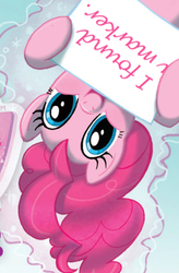 Size: 436x663 | Tagged: magic, pinkie pie, pinkie pie's sign, safe, sign, smiling, upside down