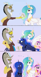 Size: 749x1400 | Tagged: safe, artist:celestiathegreatest, discord, princess cadance, princess celestia, princess luna, alicorn, draconequus, pony, ..., :i, annoyed, anti-shipping, bouquet, crossed arms, cute, discute, dislestia, eating, eyes closed, female, flower, frown, glare, gritted teeth, happy, herbivore, horses doing horse things, hungry, jewelry, lunabetes, male, nom, open mouth, puffy cheeks, regalia, scene parody, shipping, smiling, spread wings, straight, surprised, wide eyes