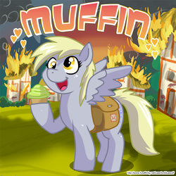 Size: 860x860   Tagged: safe, artist:lonbluewolf, derpy hooves, pegasus, pony, artifact, bag, building, burning, cupcake, destruction, female, fire, happy, heart, hoof hold, mailbag, mare, muffin, open mouth, ponyville, smiling, solo
