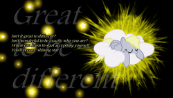 Size: 1920x1080 | Tagged: safe, artist:ahsokafan100, derpy hooves, cloud, female, forest rain, great to be different, lyrics, solo, song reference, stars, text, vector, wallpaper
