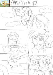 Size: 2480x3508 | Tagged: safe, artist:jbond, applejack, derpy hooves, pegasus, pony, comic:applebuck, comic, female, mare