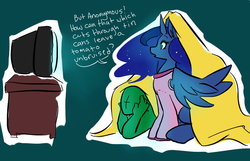 Size: 946x611 | Tagged: artist needed, blanket, dialogue, human, infomercial, oc, oc:anon, princess luna, safe, television