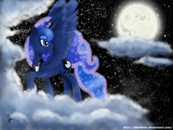 Size: 1024x768 | Tagged: safe, artist:lillyflover, princess luna, cloud, cloudy, looking back, moon, night, solo