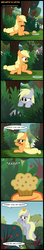 Size: 958x5397   Tagged: safe, artist:toxic-mario, applejack, derpy hooves, apple, balancing, blank flank, comic, crying, cute, eating, eyes closed, filly, flying, food, frown, happy, hoof hold, looking back, muffin, nom, open mouth, plot, puffy cheeks, sad, sitting, smiling, spread wings, tears of joy, waving