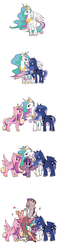 Size: 700x3000 | Tagged: alicorn, alicorn tetrarchy, angry, artist:raichi, blowing a kiss, blushing, blush sticker, crown, discord, discord being discord, discorn, female, grin, heart, interrupted, jewelry, looking at you, mare, open mouth, pony, princess cadance, princess celestia, princess discord, princess luna, raised eyebrow, safe, simple background, smiling, twilight sparkle, twilight sparkle (alicorn), unamused, white background