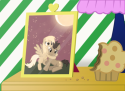 Size: 990x720 | Tagged: safe, artist:shwiggityshwah, derpy hooves, doctor whooves, time turner, pegasus, pony, bedside, doctorderpy, female, framed picture, male, mare, muffin, shipping, straight