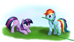 Size: 3600x2025 | Tagged: safe, artist:galekz, rainbow dash, twilight sparkle, pegasus, pony, unicorn, face down ass up, female, hose, looking at each other, mare, shipping, smiling, twidash, unicorn twilight
