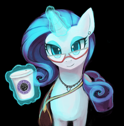 Size: 4308x4386 | Tagged: safe, artist:lumineko, rarity, pony, unicorn, absurd resolution, bedroom eyes, coffee, dark, female, glasses, glow, hipster, looking at you, magic, mare, satchel, smiling, solo, starbucks