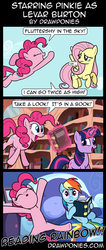 Size: 850x2000 | Tagged: safe, artist:drawponies, fluttershy, pinkie pie, rainbow dash, twilight sparkle, book, comic, magic, pinkie being pinkie, pinkie physics, reading rainboom, singing, telekinesis