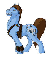 Size: 500x558 | Tagged: safe, artist:jenzaquinn, bisexuality, gun, holster, jack harkness, ponified, solo, torchwood