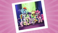 Size: 10213x5750 | Tagged: absurd res, .ai available, alicorn, applejack, artist:kiowa213, crystal, door, female, fluttershy, flying, grin, group shot, looking at you, mane seven, mane six, mare, pinkie pie, polaroid, pony, prone, rainbow dash, raised hoof, rarity, safe, smiling, spike, spread wings, tree of harmony, twilight's castle, twilight's kingdom, twilight sparkle, twilight sparkle (alicorn), vector, waving