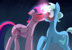 Size: 1700x1200 | Tagged: safe, artist:misspolycysticovary, trixie, twilight sparkle, alicorn, blushing, dusk shine, dusktan, gay, horns are touching, kissing, magic, male, prince dusk, rule 63, shipping, tristan, twilight sparkle (alicorn), twixie