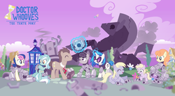 Size: 9414x5198   Tagged: safe, artist:trotsworth, bon bon, carrot top, derpy hooves, dinky hooves, dj pon-3, doctor whooves, fluttershy, golden harvest, lyra heartstrings, octavia melody, rainbow dash, sweetie drops, time turner, vinyl scratch, cyberman, cyborg, earth pony, parasprite, pegasus, pony, unicorn, absurd resolution, background six, doctor who, drawing, female, male, mare, stallion, tardis, the doctor