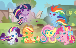 Size: 5120x3200 | Tagged: safe, artist:beavernator, applejack, fluttershy, pinkie pie, rainbow dash, rarity, twilight sparkle, alicorn, pony, all glory to the beaver grenadier, babity, baby, baby dash, baby pie, baby pony, babyjack, babylight sparkle, babyshy, beavernator is trying to murder us, cute, dashabetes, diapinkes, female, filly, flying, foal, jackabetes, looking at you, mane six, mare, open mouth, rainbow power, raribetes, shyabetes, sitting, smiling, twiabetes, twilight sparkle (alicorn), weapons-grade cute