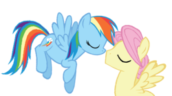 Size: 872x486 | Tagged: safe, artist:dilemmas4u, fluttershy, rainbow dash, butterdash, butterscotch, eyes closed, female, flying, half r63 shipping, imminent kissing, male, rule 63, shipping, simple background, straight, transparent background