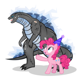 Size: 1200x1200 | Tagged: safe, artist:pixelkitties, pinkie pie, earth pony, kaiju, pony, bandaid, crossover, godzilla, godzilla (series), godzilla 2014, hat, open mouth, party hat, pointing, simple background, smiling, transparent background, wide eyes