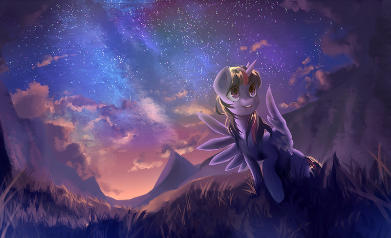 Size: 2890x1757 | Tagged: alicorn, artist:my-magic-dream, cloud, cute, featured image, female, grass, looking away, looking up, mare, mountain, night, outdoors, pony, raised hoof, safe, scenery, scenery porn, sky, solo, spread wings, starry night, stars, twiabetes, twilight sparkle, twilight sparkle (alicorn), wallpaper, wings