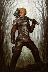Size: 800x1200 | Tagged: safe, artist:assasinmonkey, big macintosh, human, armor, badass, hammer, humanized, male, solo, weapon