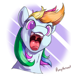 Size: 600x600 | Tagged: safe, artist:ponythroat, rainbow dash, bust, colored pupils, female, happy, looking at you, maw, mawshot, open mouth, portrait, silly face, solo, tongue out, uvula