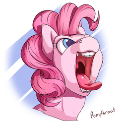 Size: 600x600 | Tagged: safe, artist:ponythroat, pinkie pie, earth pony, pony, abstract background, burp, bust, cheek fluff, colored pupils, female, fluffy, happy, horses doing horse things, mare, maw, mawshot, neck fluff, open mouth, portrait, silly face, smiling, solo, throat bulge, tongue out, uvula