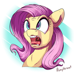 Size: 600x600 | Tagged: safe, artist:ponythroat, fluttershy, burp, bust, colored pupils, female, flutterpred, maw, mawshot, open mouth, portrait, silly face, solo, surprised, tongue out, uvula