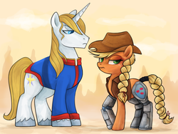 Size: 952x714 | Tagged: safe, artist:mn27, applejack, prince blueblood, cyborg, earth pony, pony, unicorn, antoine d'coolette, appleborg, archie comics, bluejack, bunnie rabbot, crossover, female, implied shipping, male, satam, shipping, sonic the hedgehog (series), straight