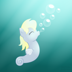Size: 1500x1500 | Tagged: artist:haretrinity, blowing bubbles, bubble, cute, derpabetes, derpy hooves, safe, sea pony, solo, species swap, underwater