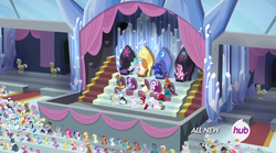 Size: 1493x830 | Tagged: air way, alicorn, alicorn thrones, alicorn triarchy, all new, amira, applejack, audience, aura (character), background pony, background pony audience, blueberry muffin, blue moon (g4), blue october, braeburn, cheerilee, chelsea porcelain, cherry berry, cherry jubilee, cherry spices, cloverbelle, cocoa caliente, coco pommel, commander redfeather, crowd, crystal, crystal stadium, cutie mark, daisy, duchess of maretonia, duke of maretonia, earth pony, emerald green, equestria games, equestria games (episode), fancypants, female, fleur-de-lis, flower wishes, geri, golden grove, grace manewitz, green gem, haakim, herald, hoity toity, hub logo, ice mirror, jinx, lightning bolt, linky, lyrica lilac, male, mama biceps, mare, mayor mare, meadow song, minty green, morton saltworthy, mr. waddle, neighbuchadnezzar, nurse tenderheart, orion, pearly whites, pegasus, perfect pace, photo finish, pinkie pie, pokey pierce, ponet, pony, prince blueblood, princess cadance, princess celestia, princess luna, rarity, receptionist, royal guard, royal ribbon, ruby pinch, saddle arabian, safe, sapphire shores, sassaflash, screencap, sealed scroll, sheriff silverstar, shoeshine, shooting star (character), silver shill, sitting, south pole, stadium, stallion, star bright, star gazer, sunshower raindrops, the master, throne, tornado bolt, twilight sparkle, twinkleshine, twist, unicorn, unnamed pony, velvet light, wall of tags, white lightning