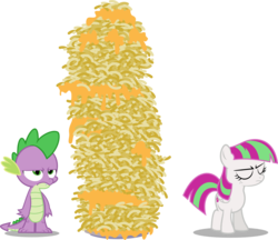 Size: 1136x982 | Tagged: age regression, artist:punzil504, blossomforth, courage the cowardly dog, fanfic art, filly, filly blossomforth, macaroni and cheese, parody, safe, simple background, spike, transparent background, vector