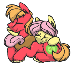 Size: 679x618 | Tagged: safe, artist:artflicker, big macintosh, fluttershy, earth pony, pegasus, pony, adorascotch, big macintosh's yoke, buttermac, butterscotch, cuddling, cute, duo, fluttermac, gay, half r63 shipping, macabetes, male, rule 63, rule63betes, shipping, simple background, stallion, white background