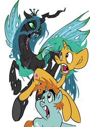 Size: 579x816 | Tagged: artist:jowybean, queen chrysalis, safe, snails, snailsquirm, snips, snipsy snap