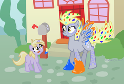Size: 2352x1592 | Tagged: safe, artist:bibliodragon, derpy hooves, dinky hooves, pegasus, pony, cute, female, mare, paint, paint in hair, paint on feathers, paint on fur, rainbow power